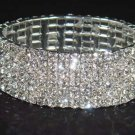 6 row Bridal Wedding Crystal Rhinestone Bracelet Cuff BR14