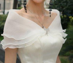 Bridal bow rhinestone clasp Shrug White Shawl Stole Wrap Cape SF129
