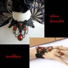 Gothic sexy Lolita Red Bead dangle Black Victorian style Choker necklace NR362