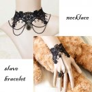 Gothic Lolita Black Flower lace Belly dance bracelet necklace set BR304