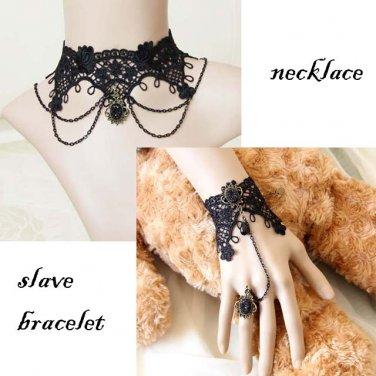 Gothic Lolita Black Flower lace Belly dance bracelet necklace set BR304