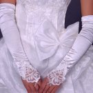"""17"""" Bridal prom sexy white ivories Lace Satin Fingerless Gloves S146"""