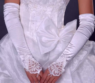 "17"" Bridal prom sexy white ivories Lace Satin Fingerless Gloves S146"
