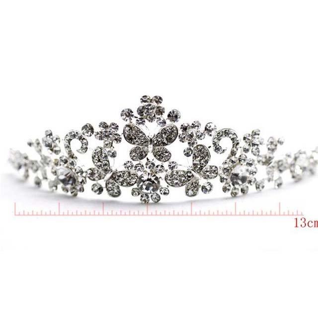 Bridal Butterfly Rhinestone Crystal necklace earring set Hair tiara crown NR347