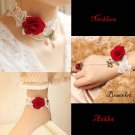 Lolita Gothic sexy Red Flower Choker white necklace bracelet anklet set BR337