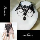 Sexy Rhinestone Belly dance Black Lace gothic Bracelet necklace set BR248