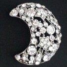Bridal Rhinestone moon crystal scarf cake dress decoration Brooch pin PI551