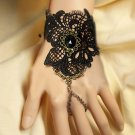 Sexy Belly dance Rhinestone rose flower Black Lace gothic slave Bracelet BR284