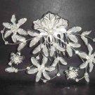 Bridal Rhinestone Crystal Faux Pearl Flower Tiara Comb RB130