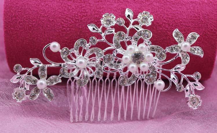 Bridal Rhinestone faux pearl flower tiara Crystal Hair Comb RB612