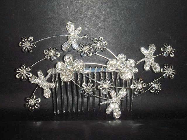 Bridal Rhinestone dragonfly tiara Crystal Hair Comb RB194