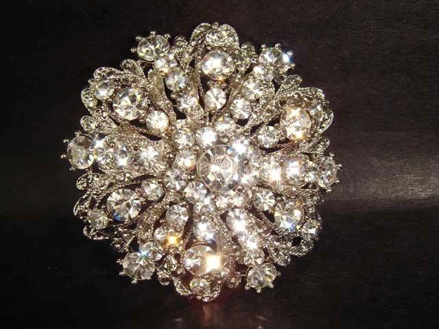 Bridal Vintage Style crystal cake decoration Rhinestone bling Brooch pin PI225