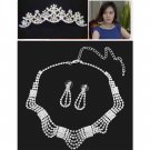 Bridal Rhinestone crystal Topknot tiara comb earring necklace set NR395