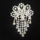 Bridal dangle Vintage style crystal Rhinestone Brooch pin Pi412