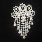Bridal dangle Vintage style crystal Rhinestone Brooch pin Pi412