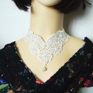 Gothic sexy Lolita butterfly flower white faux pearl Choker necklace NR400