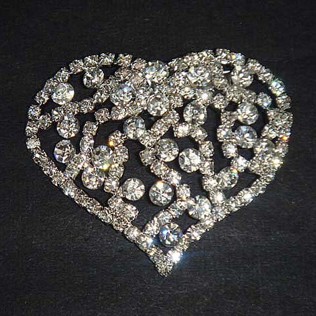 Bridal Cake Dress decoration Heart crystal Rhinestone Brooch pin PI588