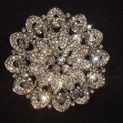 Large Bridal Cake topper decorating crystal Flower Rhinestone Brooch pin PI503
