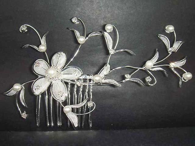 Bridal Crystal Faux pearl Headpiece Rhinestone Flower Hair tiara Comb RB66