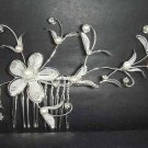 Bridal Crystal Faux pearl Headpiece Rhinestone Flower Hair tiara Comb RB66