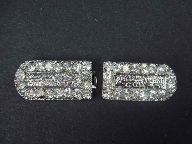 2 pcs Cape Dress Crystal Rectangle Rhinestone clasp hook buckle button BU14