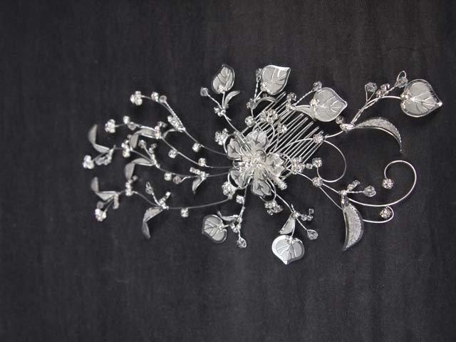 Bridal Rhinestone Crystal Flower Headpiece headdress Hair tiara Comb RB596