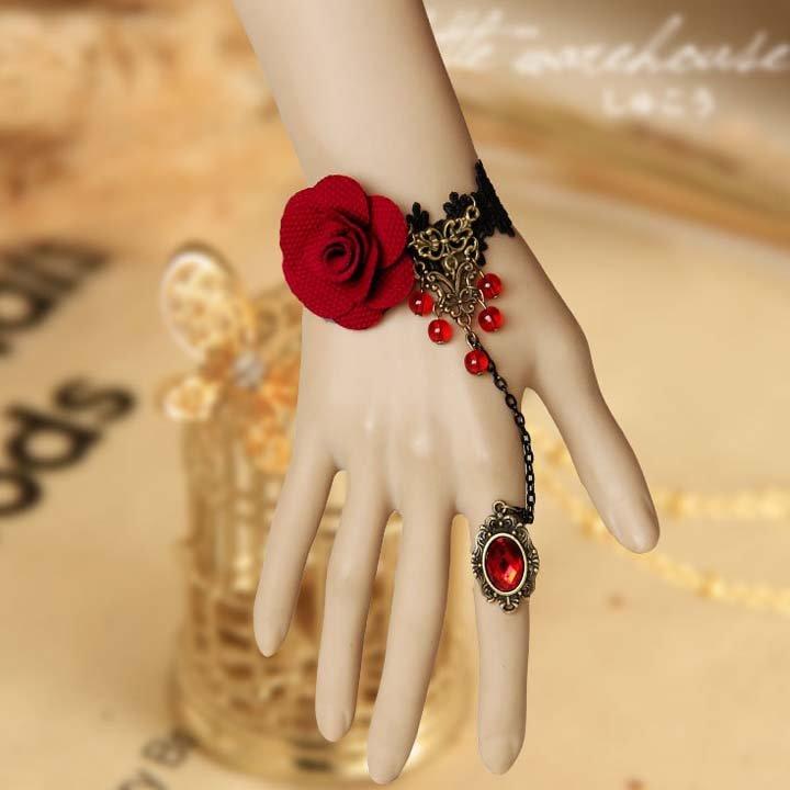 Lolita Belly dance Rhinestone Red flower Black Lace gothic slave Bracelet BR335