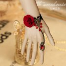 Lolita Belly dance Rhinestone Red flower Black Lace gothic slave Bracelet BR335