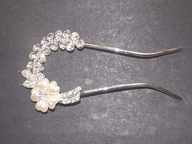 Bridal Flower crystal Faux Pearl rhinestone Hairpin hair pin RP177