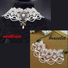 Gothic sexy Lolita Bow Ivorie Victorian style Faux pearl bracelet necklace NR349