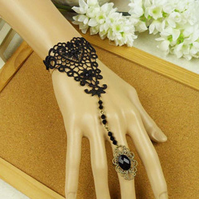 Gothic Lolita Sexy Black Belly dance slave bracelet -for very thin hand BR272