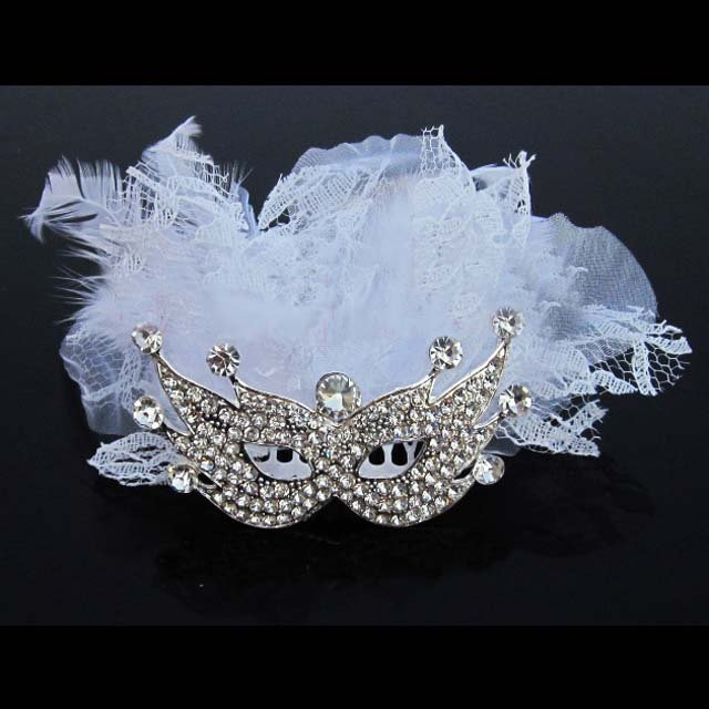 Bridal Rhinestone prom Mask white lace feather comb RB576