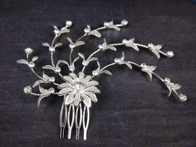 Bridal Rhinestone Flower Headpiece Flower Crystal Hair tiara Comb RB580