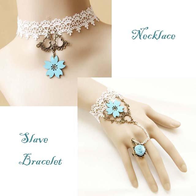 Gothic Lolita Blue Flower white Belly dance slave bracelet necklace set BR310