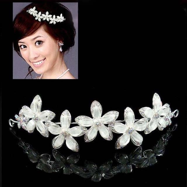 Bridal Rhinestone crystal headpiece White flower Hair crown Tiara HR200