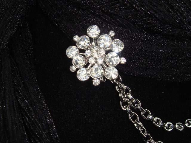 Vintage style crystal Rhinestone Scarf Sweater chain clip PI66