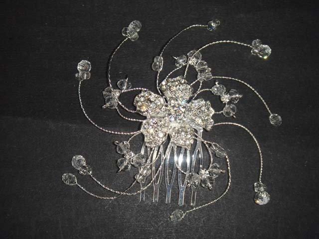 Bridal crystal Rhinestone flower spiral Hair Headdress tiara Comb RB606