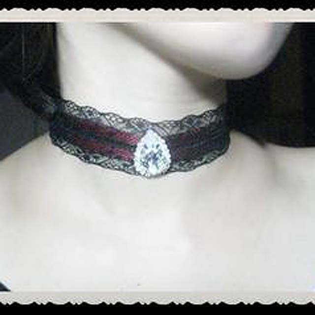 Gothic sexy Lolita Lace drop rhinestone Red ribbon Black Choker necklace NR377