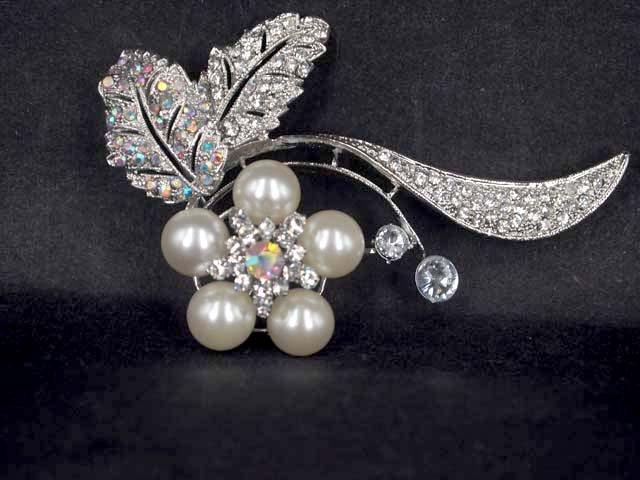 Bridal Faux pearl AB crystal dress scarf decoration Rhinestone Brooch pin Pi564