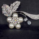 Bridal Faux pearl AB crystal dress scarf decoration Rhinestone Brooch pin Pi564