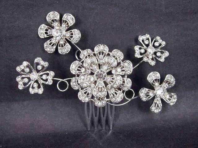 Bridal Crystal Rhinestone Headdress Headpiece Flower Hair tiara Comb RB472