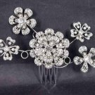 Bridal Crystal Rhinestone Headdress Headpiece Flower Hair tiara Comb RB472