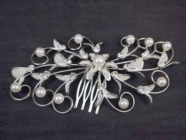 Bridal Crystal Rhinestone Faux pearl Headpiece Flower Hair tiara Comb RB585