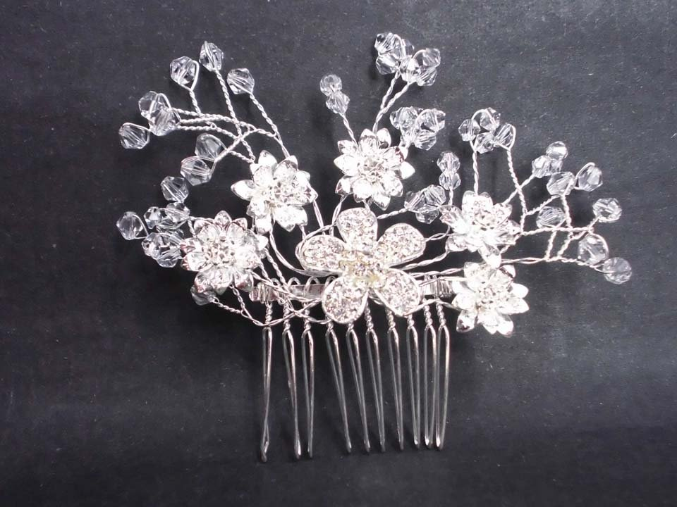 Bridal flower crystal rhinestone headpiece hair tiara topknot comb RB615