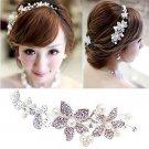 Bridal Rhinestone Adjustable forehead band Faux pearl Flower Hair tiara HR213