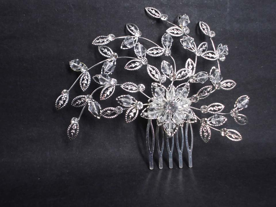 Bridal crystal Headwear rhinestone headpiece hair tiara topknot comb RB617