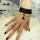 Sexy Black Crochet Bead Lace gothic slave Bracelet BR207