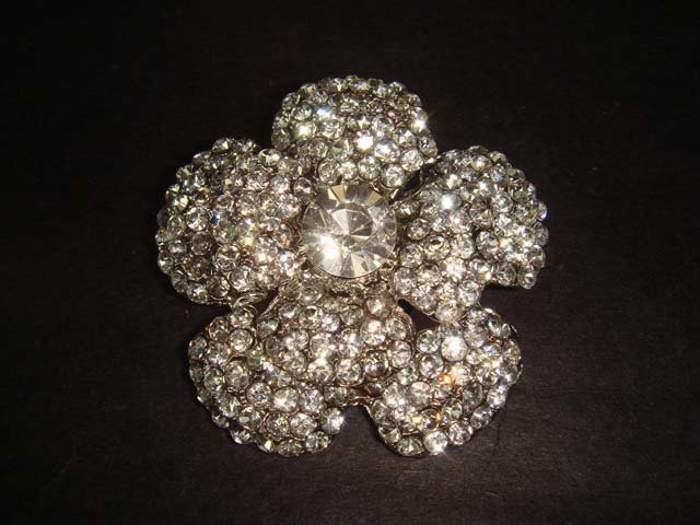 Bridal Flower Crystal Bling Rhinestone Brooch pin PI358