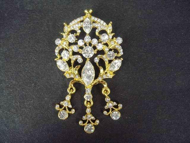 Bridal Vintage style dangle crystal dress Rhinestone Brooch pin Pi203