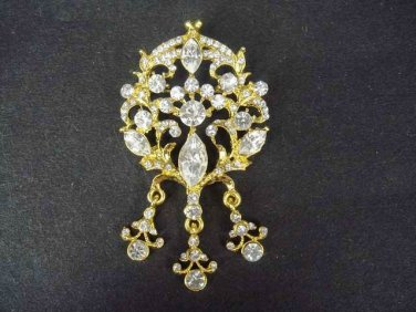 Bridal Vintage style dangle crystal dress Rhinestone Brooch pin Pi203